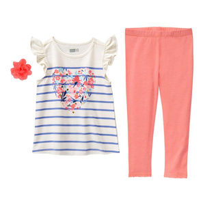 Crazy 8 Floral Heart Shirt Leggings Girls Outfit
